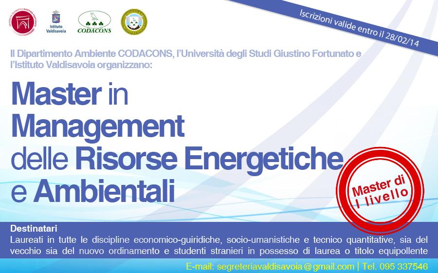 Master in Management delle Risorse Energetiche e Ambientali